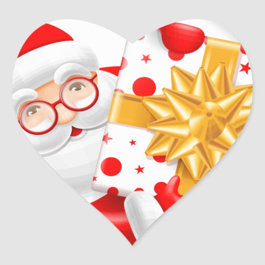 Santa Claus happy new year Heart Sticker