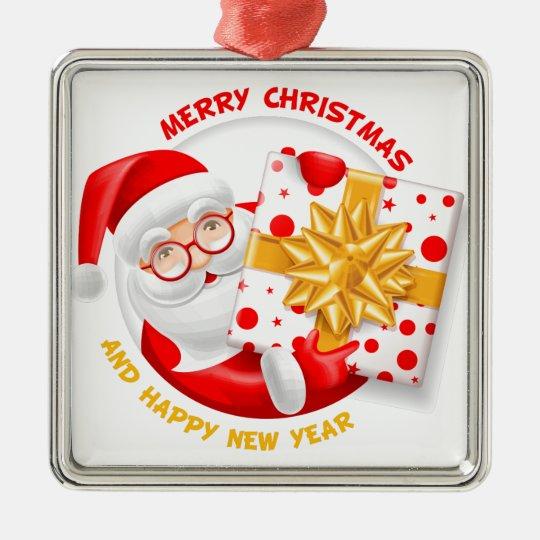 Santa Claus happy new year Metal Ornament