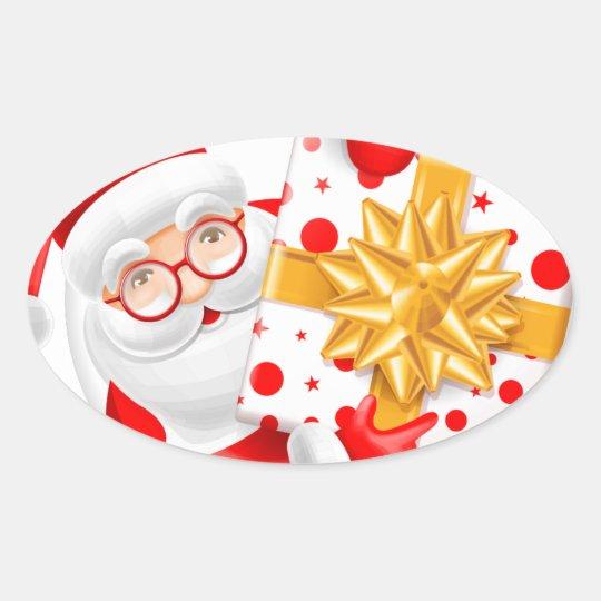 Santa Claus happy new year Oval Sticker
