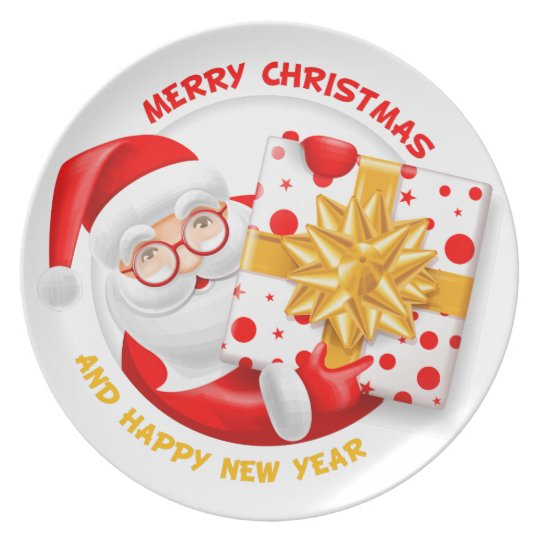 Santa Claus happy new year Plate