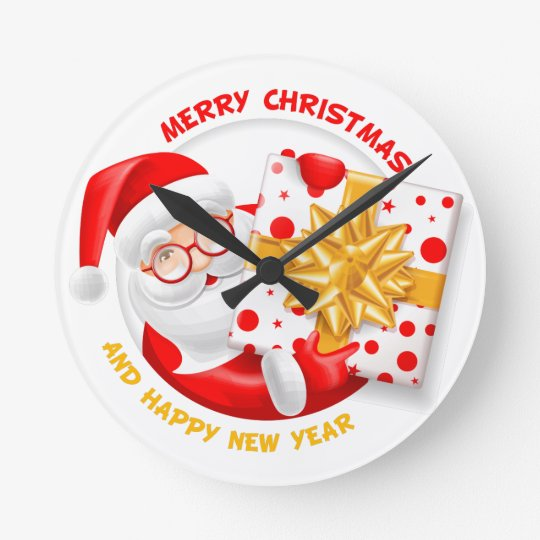 Santa Claus happy new year Round Clock