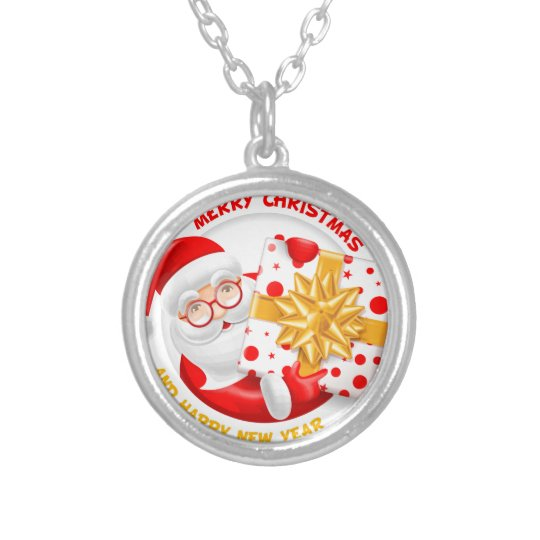 Santa Claus happy new year Silver Plated Necklace