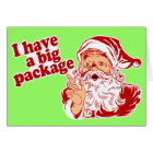 Santa Claus has a big package Card