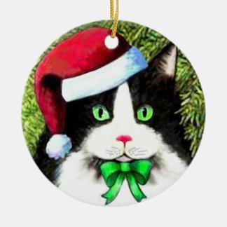 Santa Claus Hat Christmas Cat Ornament