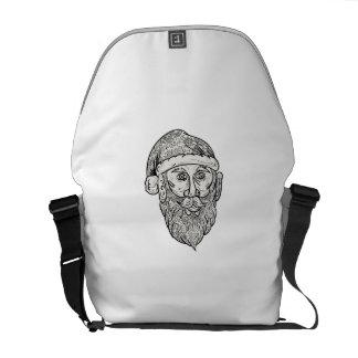 Santa Claus Head Mandala Courier Bags