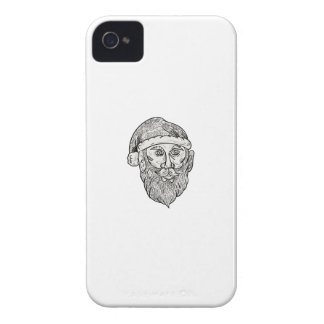 Santa Claus Head Mandala iPhone 4 Case-Mate Cases
