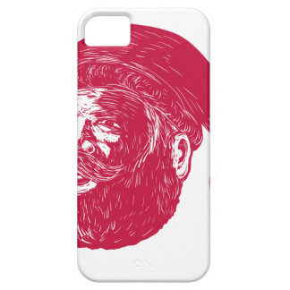 Santa Claus Head Woodcut Barely There iPhone 5 Case
