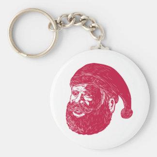 Santa Claus Head Woodcut Key Ring