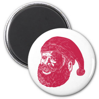 Santa Claus Head Woodcut Magnet