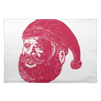 Santa Claus Head Woodcut Placemat