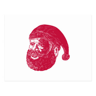 Santa Claus Head Woodcut Postcard