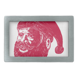 Santa Claus Head Woodcut Rectangular Belt Buckle