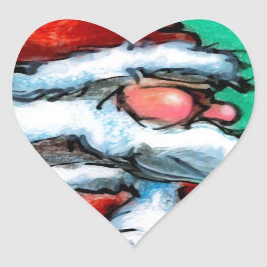 Santa Claus Heart Sticker