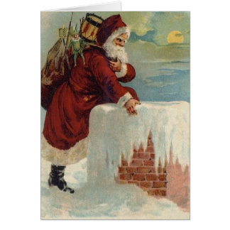 Santa Claus & His Reindeer Card