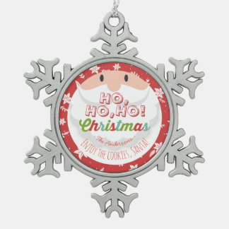 Santa Claus Ho Ho Christmas Happy New Year Holiday Snowflake Pewter Christmas Ornament