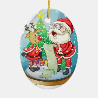 Santa Claus holding a list inside the snow ball wi Ceramic Ornament