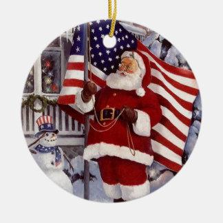 Santa Claus Holding American Flag Ceramic Ornament