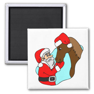 Santa Claus Horse Theme Equine Holiday Christmas Magnet