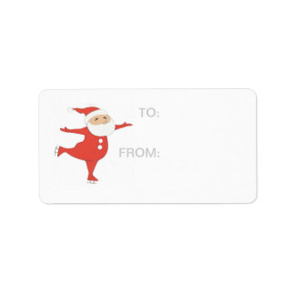 Santa Claus ice skating GIFT-TAG Address Label