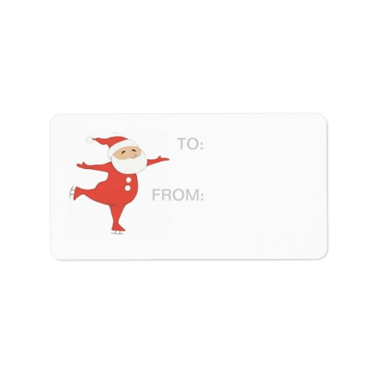 Santa Claus ice skating GIFT-TAG Label
