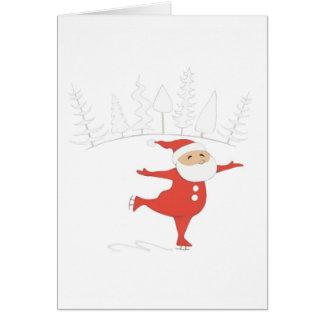 Santa Claus ice skating Notecard