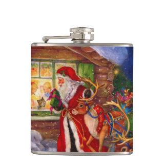 Santa claus illustration - christmas illustrations hip flask