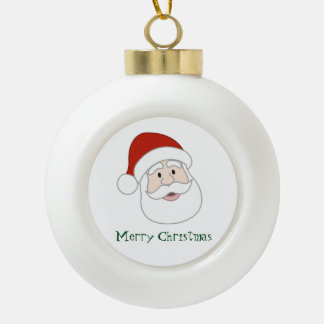 Santa Claus Illustration & Text Ceramic Ball Decoration