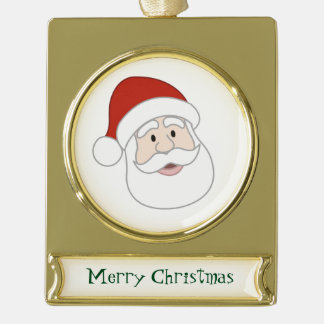 Santa Claus Illustration & Text Gold Plated Banner Ornament