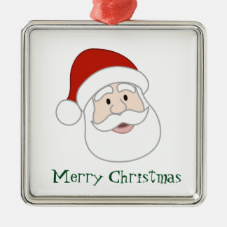 Santa Claus Illustration & Text Silver-Colored Square Decoration
