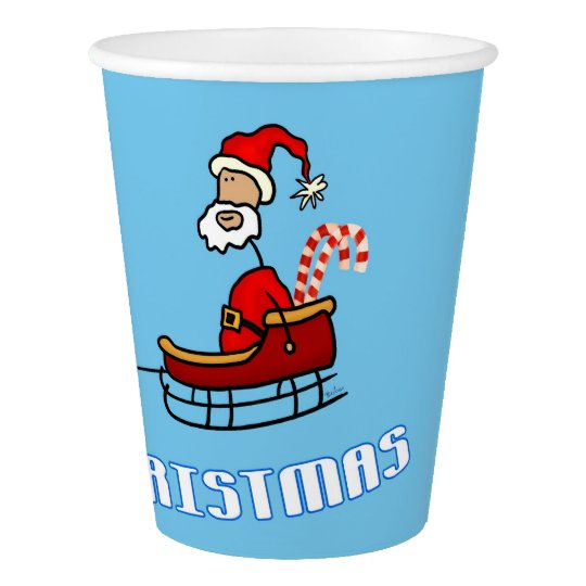 Santa Claus in his Sled with Reindeers Paper Cup