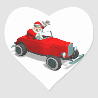 Santa Claus In Hot Rod Heart Sticker