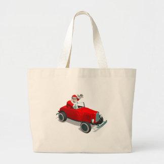 Santa Claus In Hot Rod Jumbo Tote Bag