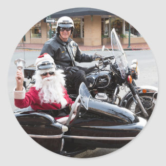 Santa Claus in motorcycle sidecar Classic Round Sticker