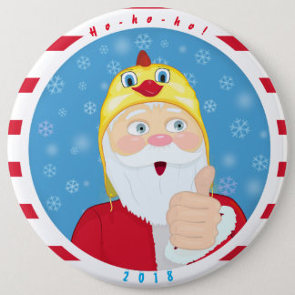 Santa Claus in the chicken hat, thumbs, Christmas 6 Cm Round Badge