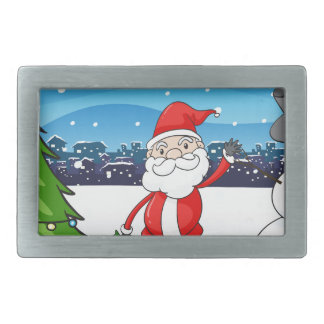 Santa Claus in the middle of the pine tree and the Belt Buckle