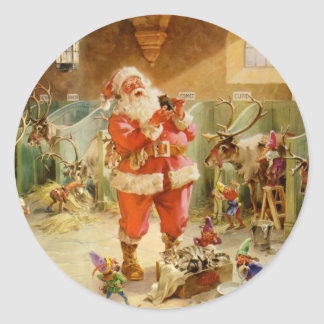 Santa Claus in the North Pole Reindeer Stables Classic Round Sticker