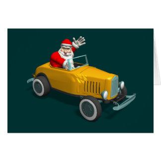 Santa Claus In Yellow Hot Rod Card