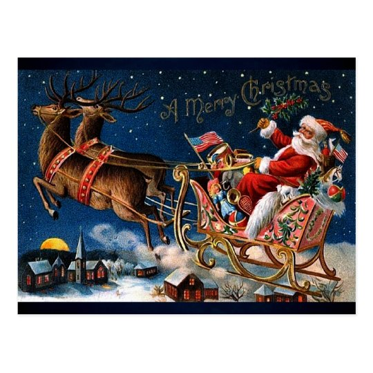 Santa Claus is Comming to Town Postcard