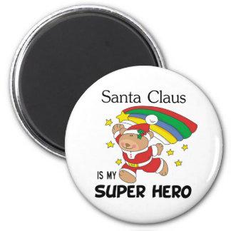 Santa Claus is My Superhero Christmas 6 Cm Round Magnet
