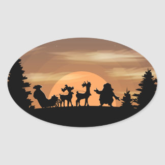 Santa Claus lost Oval Sticker