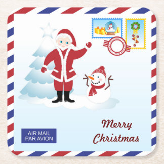 Santa Claus loves Christmas snail mail Square Paper Coaster