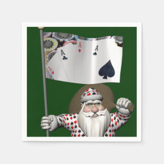 Santa Claus Loves Playing  Poker Disposable Serviette
