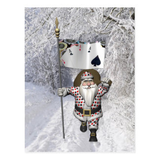 Santa Claus Loves Playing  Poker Postcard