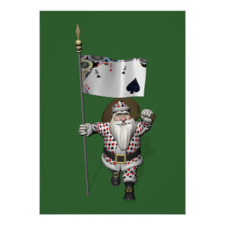 Santa Claus Loves Playing  Poker Print