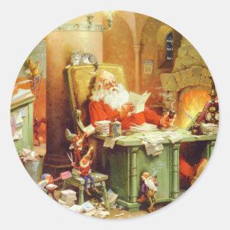 Santa Claus Making His List, Checking it Twice Round Sticker