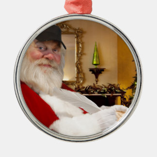 Santa Claus making his naughty and nice list - Silver-Colored Round Decoration