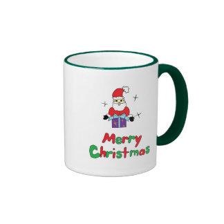 Santa Claus Merry Christmas Ringer Mug