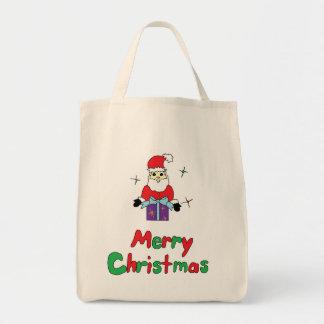 Santa Claus Merry Christmas Grocery Tote Bag