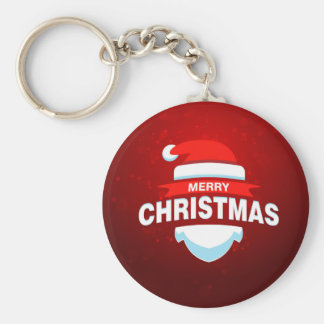 Santa Claus Merry Christmas Xmas Cute Red Basic Round Button Key Ring