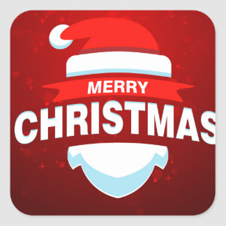 Santa Claus Merry Christmas Xmas Cute Red Square Sticker